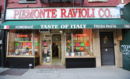 NEW YORK - NOVEMBER 3, 2015: Typical store in Little Italy, Lower Manhattan. Little Italy is an Italian community in Manhattan Editorial