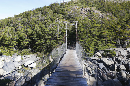 suspense: Suspension bridge in Torres del Paine National Park, Patagonia, Chile
