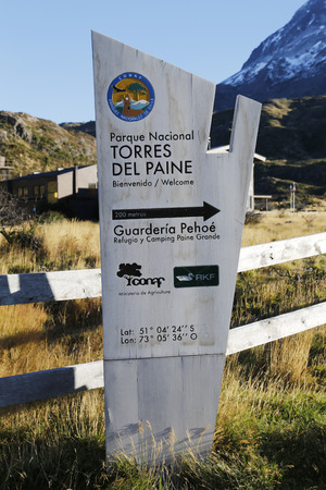 torres del paine: TORRES DEL PAINE, CHILE - APRIL 5, 2015: Sign at the entrance of Torres del Paine National Park, Patagonia, Chile