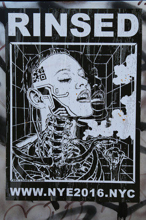 stencil art: NEW YORK - DECEMBER 15, 2015: Stencil art at East Williamsburg in Brooklyn. Outdoor art gallery known as the Bushwick Collective has most diverse collection of street art in Brooklyn