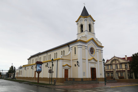 puerto natales: PUERTA NATALES, CHILE - APRIL 8, 2015: Cathedral of Puerto Natales in Patagonia, Chile