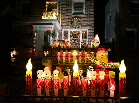 seasonal light display: BROOKLYN, NEW YORK - DECEMBER 16, 2015: Christmas house decoration lights display in Brooklyn