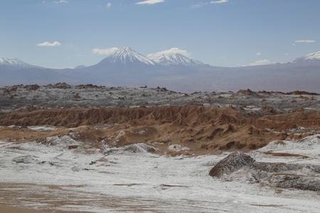 LUNA: Moon Valley or Valle de la Luna Landscape with volcanoes in Atacama Desert, Chile, South America
