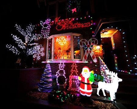 seasonal light display: BROOKLYN, NEW YORK - DECEMBER 22, 2015: Christmas house decoration lights display in Brooklyn Editorial