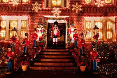 christmas lights display: BROOKLYN, NEW YORK - DECEMBER 22, 2015: Christmas house decoration lights display in Brooklyn Editorial