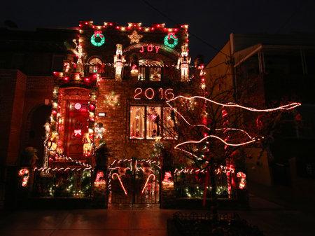 BROOKLYN, NEW YORK - DECEMBER 22, 2015: Christmas house decoration lights display in Brooklyn Editorial