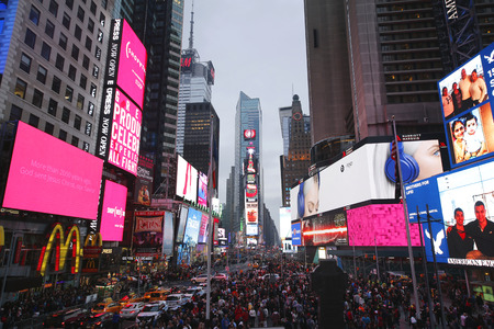 square: NEW YORK - DECEMBER 25, 2015: Times Square on Christmas Day in Manhattan