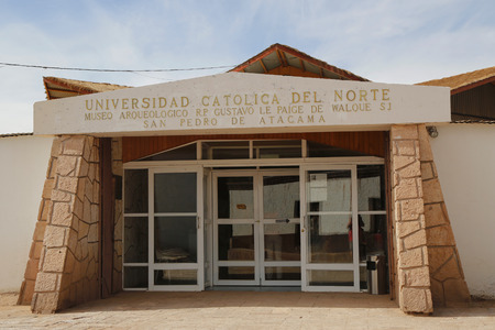 SAN PEDRO DE ATACAMA, CHILE - APRIL 10, 2015: Gustavo Le Paige Archaeological Museum at San Pedro de Atacama, Chile