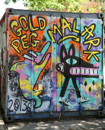 bowery: NEW YORK - MAY 14, 2015: Mural art at Delancey Street in Lower East Side in Manhattan. A mural is any piece of artwork painted or applied directly on a wall, ceiling or other large permanent surface
