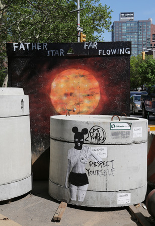 bowery: NEW YORK - MAY 14, 2015: Stencil art at Delancey Street in Lower East Side in Manhattan