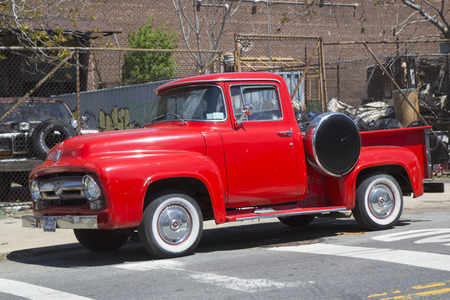 BROOKLYN, NEW YORK - MAY 6, 2014: 1956 Ford pickup truck in Brooklyn, New York