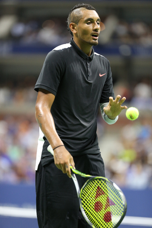 grand hard: NEW YORK - SEPTEMBER 1, 2015:Professional tennis player Nick Kyrgios of Australia in action during his first round match at US Open 2015 at Billie Jean King National Tennis Center in New York