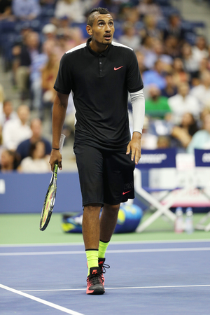 nick: NEW YORK - SEPTEMBER 1, 2015:Professional tennis player Nick Kyrgios of Australia in action during his first round match at US Open 2015 at Billie Jean King National Tennis Center in New York