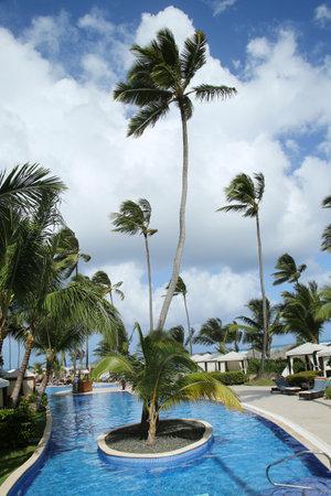 cana: PUNTA CANA, DOMINICAN REPUBLIC - JANUARY 1, 2016: The Majestic Elegance Punta Cana 5-star All-inclusive Hotel located at the Bavaro beach in Punta Cana Editorial