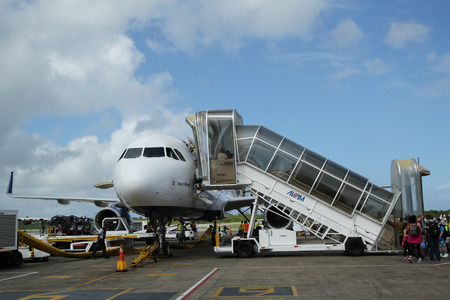 jetblue: PUNTA CANA, DOMINICAN REPUBLIC - DECEMBER 30, 2015: Jetblue Airlines Airbus 320 at Punta Cana International Airport. The Dominican Republic is the most visited destination in the Caribbean