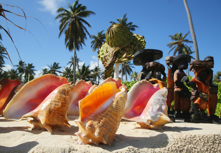 cana: Local Souvenirs on display at the beach in Punta Cana, Dominican Republic