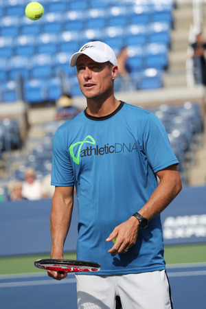 grand hard: NEW YORK - AUGUST 27, 2015:Two times Grand Slam Champion Lleyton Hewitt of Australia practices for US Open 2015 at Billie Jean King National Tennis Center in New York Editorial
