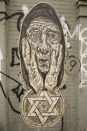 stencil art: NEW YORK - JANUARY 7, 2016: Stencil art at JMZ Walls in Brooklyn. A mural is any piece of artwork painted or applied directly on a wall, ceiling or other large permanent surface