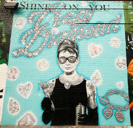 NEW YORK - 7. Januar 2016: Wandmalerei an der East Williamsburg in Brooklyn. Outdoor-Kunstgalerie als Bushwick Collective bekannt hat verschiedensten Sammlung der Kunst der Straße in Brooklyn Standard-Bild - 50813137