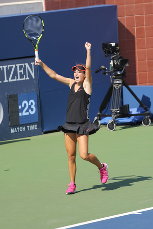 25 years old: NEW YORK - AUGUST 25, 2015: Sixteen years old tennis player Catherine Bellis of United States celebrates victory after first round qualifying match at US Open 2015 in New York Editorial