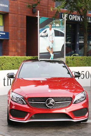 us open: NEW YORK - AUGUST 30, 2015: Mercedes-Benz on display at National Tennis Center during US Open 2015 in New York . Mercedes-Benz is the sponsor and Official Vehicle of the US Open Editorial