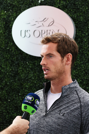 atp: NEW YORK - AUGUST 29, 2015: Grand Slam Champion Andy Murray during interview at US Open 2015 at Billie Jean King National Tennis Center in New York