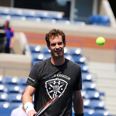 billie: NEW YORK - AUGUST 30, 2015: Grand Slam Champion Andy Murray practices for US Open 2015 at Billie Jean King National Tennis Center in New York