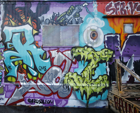 NEW YORK - JANUARY 10, 2016: Mural art at Houston Avenue in Lower Manhattan. A mural is any piece of artwork painted or applied directly on a wall, ceiling or other large permanent surface