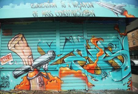 lower east side: NEW YORK - JANUARY 10, 2016: Mural art at Lower East Side in Manhattan