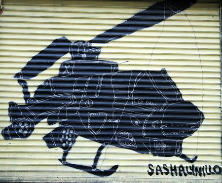 manhattan project: NEW YORK - JANUARY 10, 2016: Mural at 100 gates project in Lower East Side in Manhattan. A mural is any piece of artwork painted or applied directly on a wall, ceiling or other large permanent surface