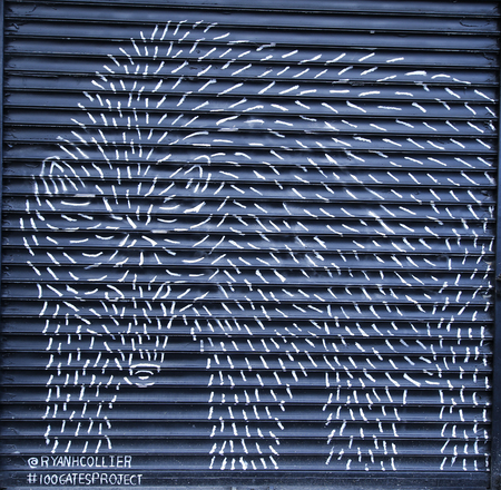 NEW YORK - JANUARY 10, 2016: Mural at 100 gates project in Lower East Side in Manhattan. A mural is any piece of artwork painted or applied directly on a wall, ceiling or other large permanent surface