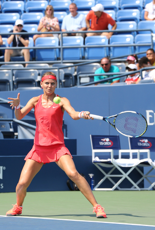 us open: NEW YORK - SEPTEMBER 1, 2015: Professional tennis player Lucie Safarova of Czech Republic in action during her first round match at US Open 2015 at Billie Jean King National Tennis Center in New York