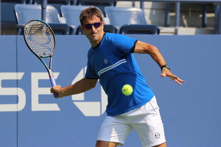 tommy: NEW YORK - AUGUST 30, 2015: Professional tennis player Tommy Robredo of Spain practices for US Open 2015 at National Tennis Center in New York