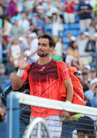 billie: NEW YORK - SEPTEMBER 6, 2015:Professional tennis player Fabio Fognini of Italy after his match at US Open 2015 at Billie Jean King National Tennis Center in New York Editorial