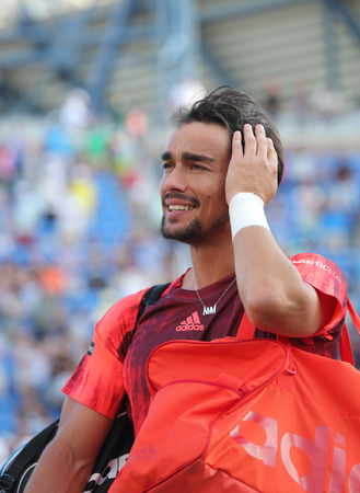 atp: NEW YORK - SEPTEMBER 6, 2015:Professional tennis player Fabio Fognini of Italy after his match at US Open 2015 at Billie Jean King National Tennis Center in New York Editorial