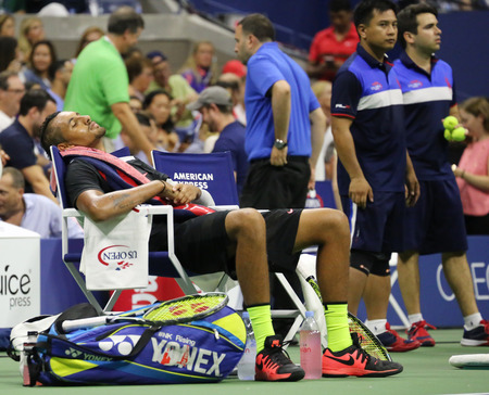 nick: NEW YORK - SEPTEMBER 1, 2015:Professional tennis player Nick Kyrgios of Australia resting during his first round match at US Open 2015 at Billie Jean King National Tennis Center in New York