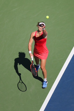 us open: NEW YORK - SEPTEMBER 5, 2015: Grand Slam Champion Samantha Stosur of Australia in action during her round four match at US Open 2015 at National Tennis Center in New York