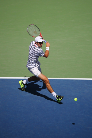 atp: NEW YORK - SEPTEMBER 6, 2015: Professional tennis player Jeremy Chardy of France in action during his round four match at US Open 2015 at National Tennis Center in New York Editorial