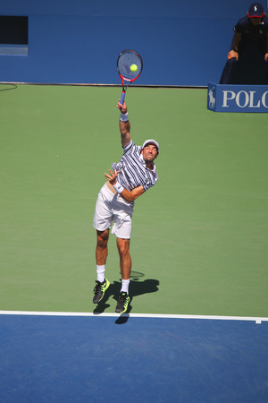 us open: NEW YORK - SEPTEMBER 6, 2015: Professional tennis player Jeremy Chardy of France in action during his round four match at US Open 2015 at National Tennis Center in New York Editorial