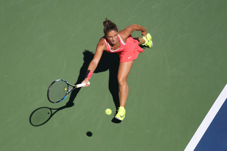us open: NEW YORK - SEPTEMBER 5, 2015: Professional tennis player Sara Errani of Italy in action during her round four match at US Open 2015 at National Tennis Center in New York