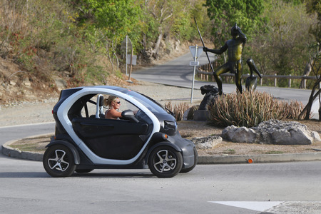 ST BARTHS, FRENCH WEST INDIES - JUNE 13, 2015: Renault Twizy Electric car at St Barths