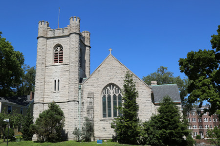episcopal: NEW YORK - JULY 6, 2014: Episcopal Chapel of St. Cornelius the Centurion on Governors Island in New York Harbor.