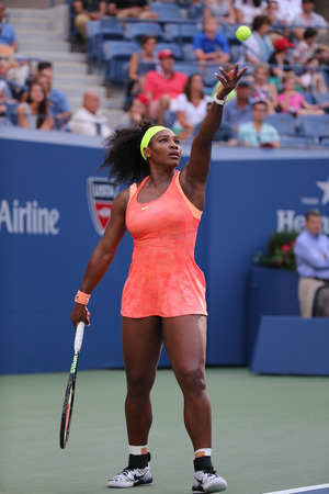 us open: NEW YORK - SEPTEMBER 6, 2015: Twenty one times Grand Slam champion Serena Williams in action during her round four match at US Open 2015 at National Tennis Center in New York