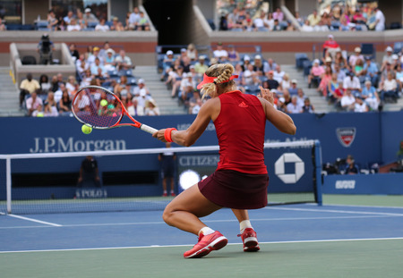 us open: NEW YORK - SEPTEMBER 5, 2015: Professional tennis player Angelique Kerber of Germany in action during US Open 2015 third round match at Arthur Ashe Stadium