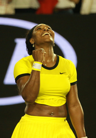 twenty one: MELBOURNE, AUSTRALIA - JANUARY 28, 2016: Twenty one times Grand Slam champion Serena Williams celebrates victory after her semifinal match at Australian Open 2016  in Melbourne Park