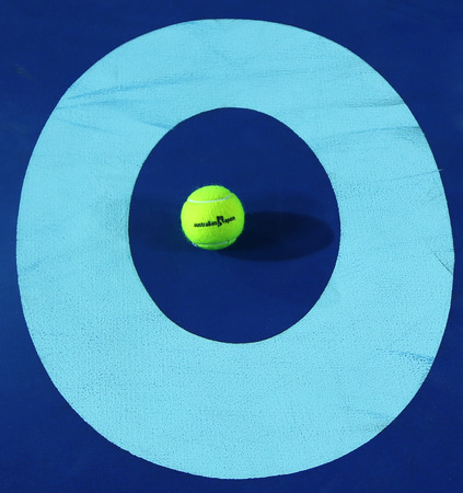 racket stadium: MELBOURNE, AUSTRALIA - JANUARY 31, 2016: Iconic Melbourne sign at Rod Laver Arena with Wilson tennis ball with Australian Open logo at Australian tennis center in Melbourne Park Editorial