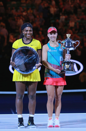 grand slam: MELBOURNE, AUSTRALIA - JANUARY 30, 2016:Australian Open 2016 finalist Serena Williams L and Grand Slam champion Angelique Kerber of Germany during trophy presentation after final match in Melbourne Editorial