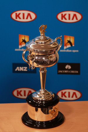 dafne: MELBOURNE, AUSTRALIA - JANUARY 30, 2016:  Daphne Akhurst Memorial Cup presented  during press conference women final at Australian Open 2016 at Australian tennis center in Melbourne Park