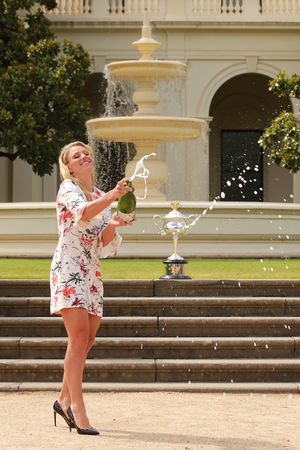 grand slam: MELBOURNE, AUSTRALIA - JANUARY 31, 2016: Grand Slam champion Angelique Kerber of Germany celebrating victory at Australian Open 2016 at Government House   in Melbourne
