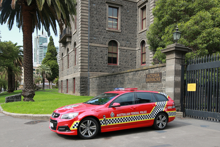 federal police: MELBOURNE, AUSTRALIA - JANUARY 27, 2016: Australian Federal Police car providing security at Victory Barracks in Melbourne. Editorial